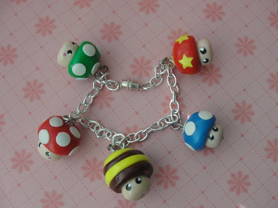 Cute Mario Mushroom Charm Bracelet