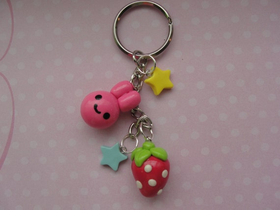 Cute Bunny and Strawberry Keychain