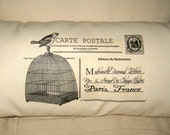 French Birdcage Postcard Pillow, Hand Sewn Ivory Muslin Typography Vintage, Shabby Chic Cushion for Your French Country Farmhouse