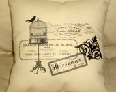 French Birdcage Paris Inspired Pillow, French Stamps, Words, Cushion,Country Farmhouse Neutral Home Decor, Parisian, Bird