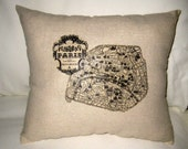 Antique Map of Paris Pillow, Typography French Country Cushion, Shabby Chic Neutral Home Decor, France, Burlap, Vintage Map, Words