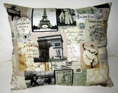 Paris French Country Pillow, Antique Postcards, Photos Vintage Cushion, Shabby Chic, Neutral French Home Decor, France