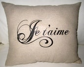 Je t'aime French Love Pillow, Shabby Chic Paris Inspired Cushion, Neutral Home Decor, Valentine's or Wedding Gift, Typography, Words