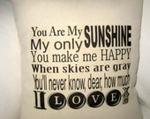 You Are My Sunshine Pillow, Baby Room Typography Cushion, Modern, Shabby Chic, Ivory Affordable Home Decor, Words, Song