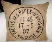 Hand Painted French Burlap Pillow, French Country Shabby Chic Neutral Cushion, Paris Inspired Home Decor, Antique Postage Stamp