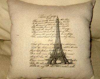 Paris Eiffel Tower Vintage Script Pillow, Shabby Chic Paris Inspired Cushion, Cotton Burlap Neutral Home Decorme Decor
