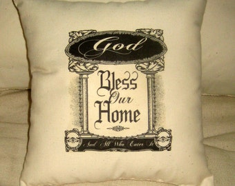 God Bless Our Home Pillow, Shabby Chic Country Cushion, Neutral Home Decor, Typography, Christian, Words, Religous, French Country Farmhouse