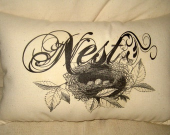 Nest Pillow, Typography Cushion, Birds, Eggs, Ivory Cotton Muslin, Spring, Shabby Chic, Country Farmhouse by FrenchCountryDesigns