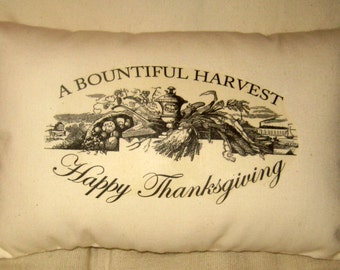 Thanksgiving Harvest Pillow, Ivory Cotton Muslin, Fall, Autumn Decor, French Country Farmhouse, Holiday Cushion by FrenchCountryDesigns
