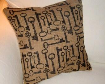 French Antique Keys Burlap Pillow, Paris Inspired Vintage Key Cushion, Neutral Shabby Chic Home Decor, France, Skeleton Keys