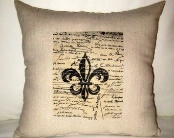 French Script and Fleur de Lis Shabby Chic Pillow, Paris Inspired Neutral French Country Cushion, Neutral Home Decor, French Word, Typograpy