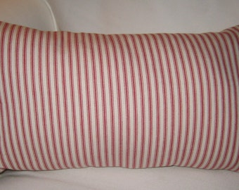 French Country Reversible Red Ticking Stripe & Burlap Pillow, Paris Inspired Lumbar Cushion, French Country Inspired Shabby Chic Home Decor