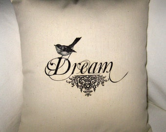 Dream Bird Pillow, French Country Cushion, Easter Spring Neutral Home Decor, Shabby Chic, Paris Inspired