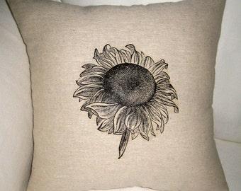 Sunflower Pillow, French Inspired Spring Summer Cushion, Neutral Shabby Chic Home Decor, France, Van Gogh, Paris