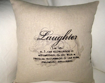 Laughter Typography Pillow, Word Definition Cushion,  Neutral Shabby Chic Home Decor, French Country Farmhouse