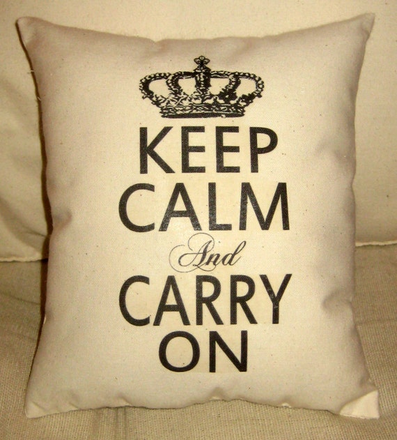 Keep Calm and Carry On Pillow, Shabby Chic French Inspired Cushion, Crown, Neutral Home Decor, Ivory, Typography, Words