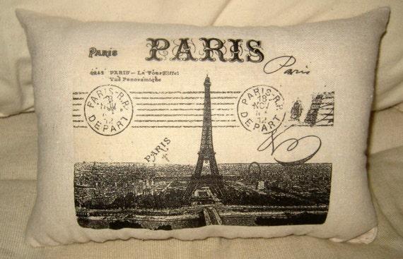 Paris Eiffel Tower Pillow, Shabby Chic French Cushion, European Travel Home Decor, France Stamps, Antique Letter, Neutral Burlap Decor