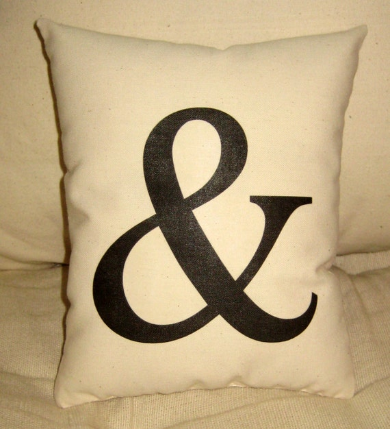 Ampersand AND Pillow, Typography Style Cushion, Ivory Muslin, Shabby Chic Neutral Home Decor