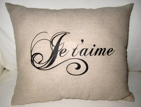 French Wedding Gifts: Je T'aime French Love Pillow Shabby Chic By