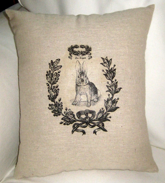 French Country Easter Pillow, Rabbit Cushion with French Words, Paris, Spring, Shabby Chic Neutral Home Decor