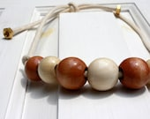 Wooden Bead, Cream, Brass Rope Necklace