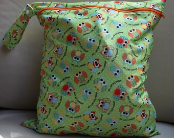 "Sale!! Large owl print Wet bag  - 14""x16"" will fit approx 10-12 cloth diapers"