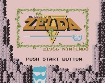 Legend of Zelda title screen cross stitch pattern