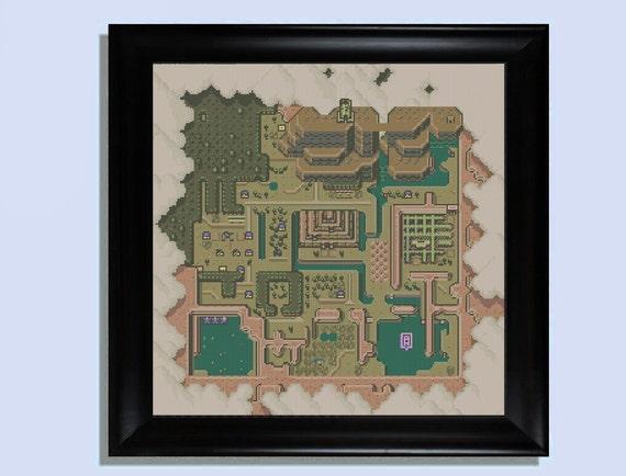 Hyrule dark world map cross stitch kit