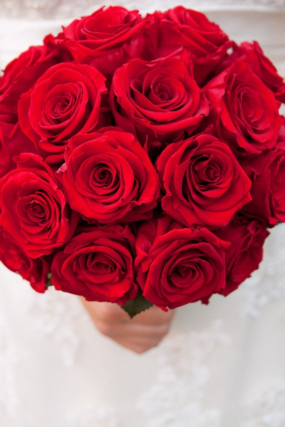Classic Red Rose Bridal Bouquet made with REAL preserved roses  Wedding bouquet will last forever