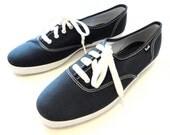 Vintage Keds Black Canvas Womens Deck Shoe Size 8.5