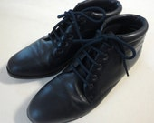 Vintage Nordstrom Womens Blue Leather Mid Boot Size 7.5