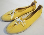 Vintage Womens Yellow Canvas Flat Size 8 N