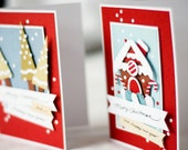 Gingerbread House and Trees Christmas Cards (set of 2)