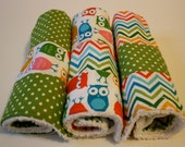 Burp cloths, set of 3, multicolor owl and zigzag pattern with contrast stripe