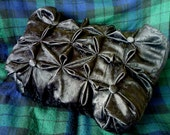 Goth satin pillow: Ruched throw pillow - Chinese night luxurious goth or Asian