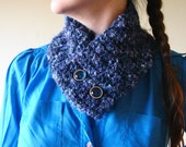 Blue knit scarflette with big doe-eye buttons