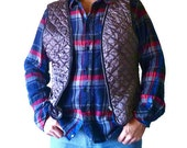 "Quilted vest vintage 70s with embroidered beaver ""Welcome to Canada"" - Hipster mens vest Canadian maple leaf"