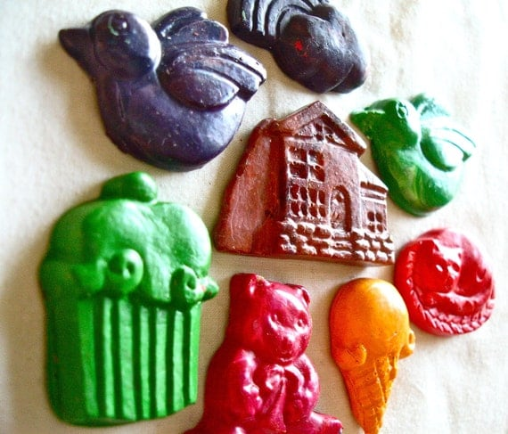 Handmade unique crayons - Moulded / molded in vintage 70s chocolate molds - Home Sweet Home set CF4L