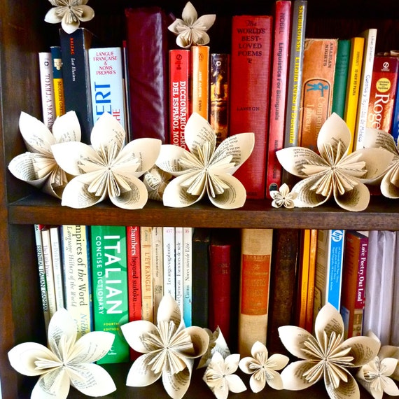 Origami flowers (kusudama) pages of 6 origami flowers for the book-lover in your life