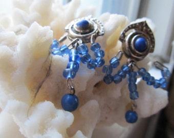 Pewter ultramarine earrings