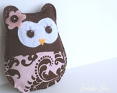 Girly Brown Stuffed FELT OWL Room Nursery Decor