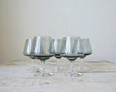 Vintage Holmegaard 'Atlantic' Brandy Glasses - Blue Grey Smoke, 1977 Signed, Designed by Per Lutken