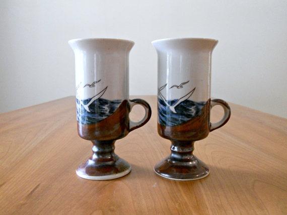 CLEARANCE SALE // Vintage Otagiri Mugs - Espresso and Blue, Sea, Retro Mugs, Japan