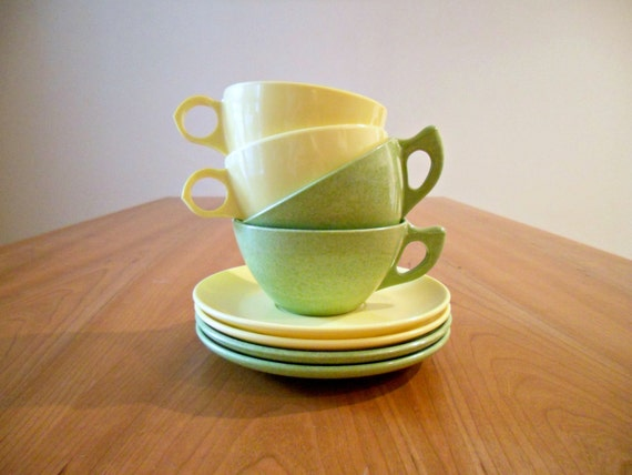 Vintage Melamine Cups and Saucers in Lime, Yellow - Instant Collection