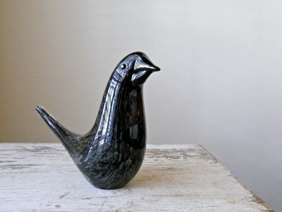 Vintage Murano Glass Bird - Italian Glass, Art Glass, Black, Grey