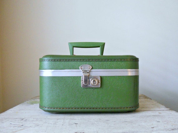 Vintage Train Case - Green and Pink with Ruffle Interior