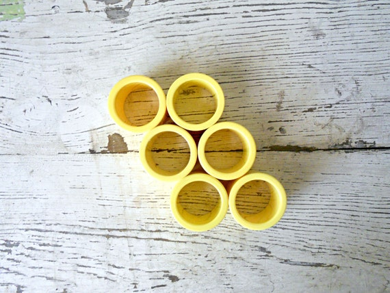Vintage Napkin Rings - Yellow, Sunny, Table Setting, Set of 6