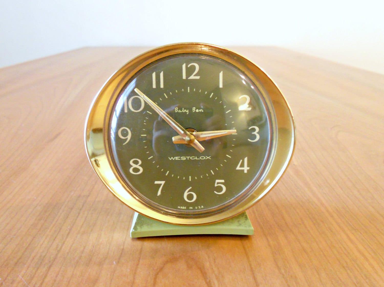Vintage Westclox Baby Ben Alarm Clock In Olive Green