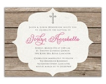 Baptism Invitation Rustic Christening Invitation Girl or Boy Wood Simple Cross FREE PRIORITY SHIPPING or DiY Printable - Joslyn