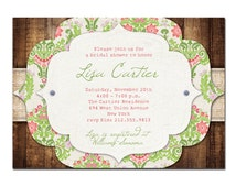 Rustic Bridal Shower Invitation Vintage Baby Shower Wedding Pink Green Damask Lace & Wood FREE PRIORITY SHIPPING or DiY Printable - Lisa